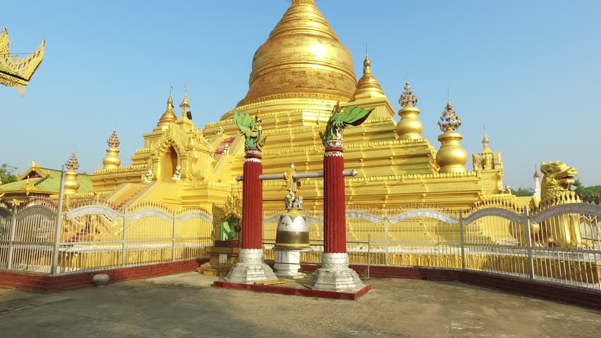 Buddhist bell at Kuthodaw Pagoda, a gilded pagoda measuring 57 meters tall in Mandalay, Myanmar. | Shutterstock HD Video #23140975