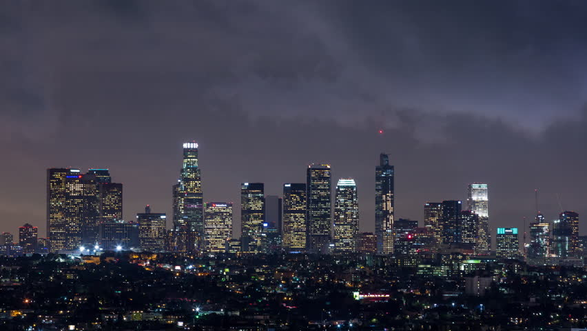 Downtown Los Angeles Skyline Night Timelapse Close | Shutterstock HD Video #23148823