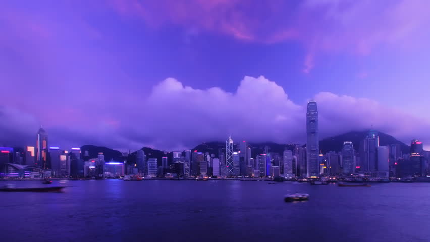 Time-lapse - Hong Kong Harbour [sunset to night] - HD stock footage clip