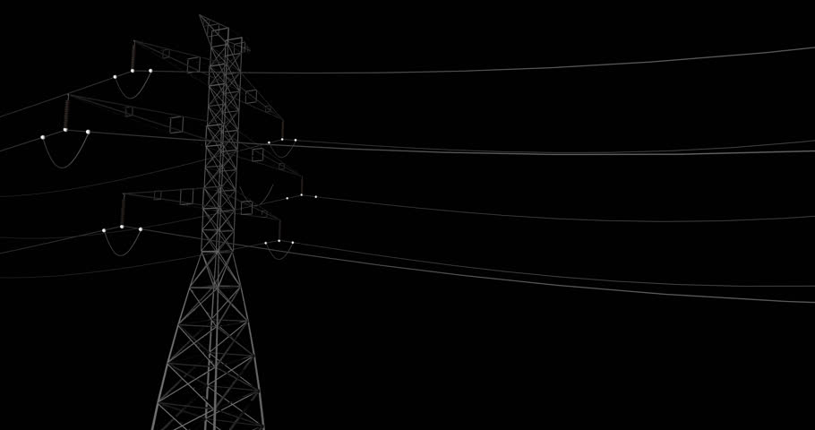 3D animation moving down electrical powerline with dark background. | Shutterstock HD Video #23162125