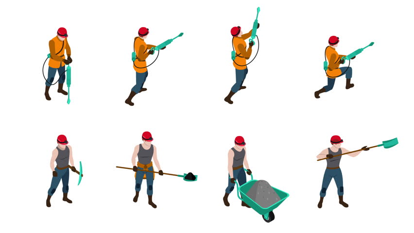 Miner people video animation footage | Shutterstock HD Video #23174833