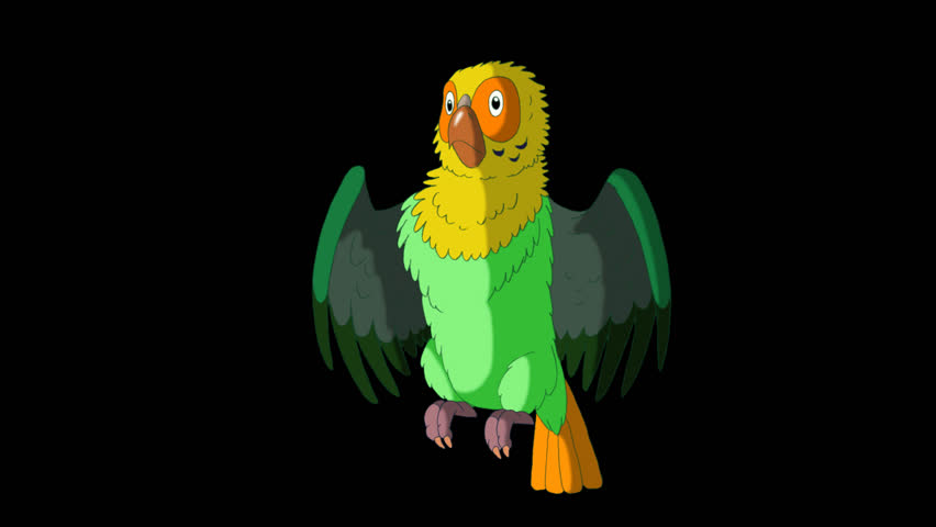 Green Parrot Gets Angry. Animated footage with alpha channel. Looped motion graphic. | Shutterstock HD Video #23184850