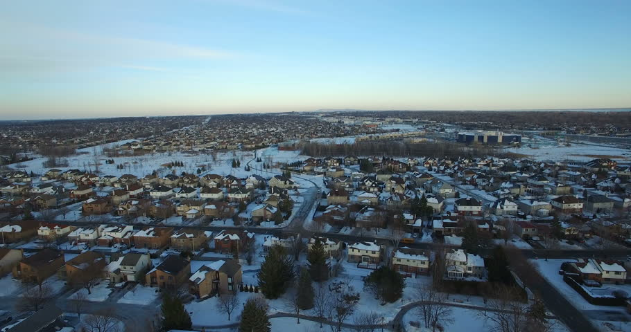 Aerial Winter Snow Landscape Above Montreal, Canada    Shutterstock HD Video #23205388