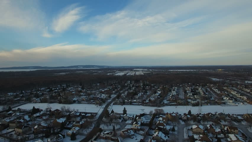 Aerial Winter Snow Landscape Above Montreal, Canada    Shutterstock HD Video #23205397