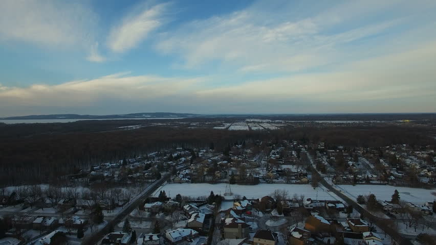 Aerial Winter Snow Landscape Above Montreal, Canada    Shutterstock HD Video #23205415