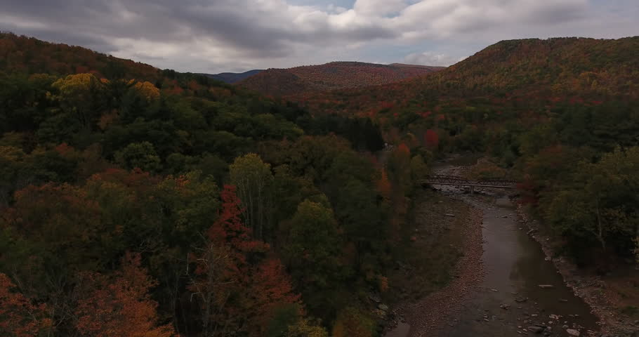 Aerial shot of the fall foliage along Esopus Creek, in upstate New York.   Shutterstock HD Video #23207026