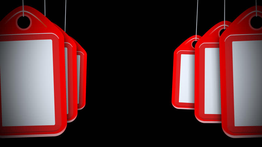 A motion background plate of swinging blank red tags. With alpha channel.     Shutterstock HD Video #23213479