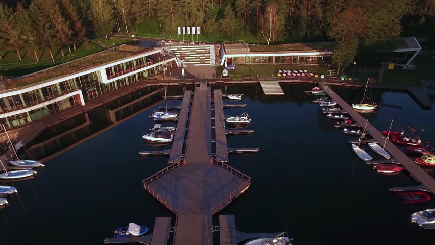 Aerial appearance of the beautiful marina located at the stunning lake during sunrise | Shutterstock HD Video #23238904