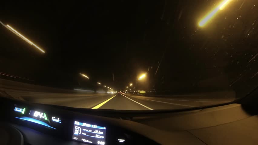 Driving the highway in the night in 4k time lapse, shot through the windshield camera | Shutterstock HD Video #23385118