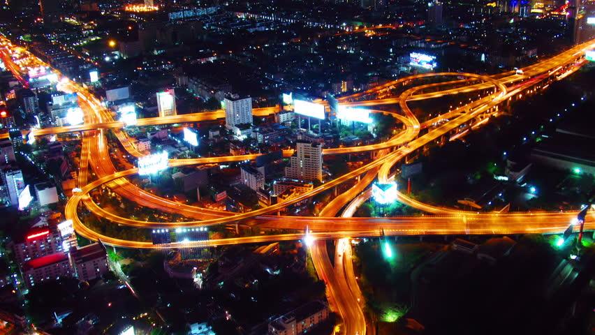 Bangkok at night. Timelapse - HD stock video clip
