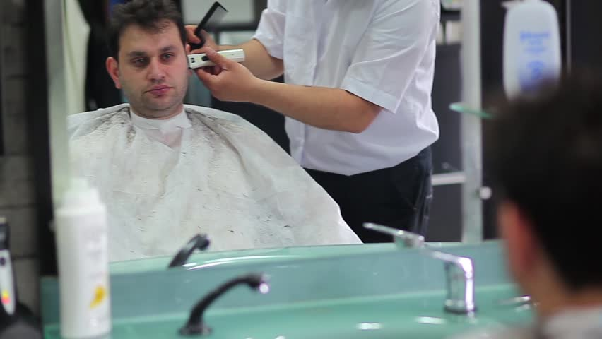 barbershop haircut - HD stock footage clip