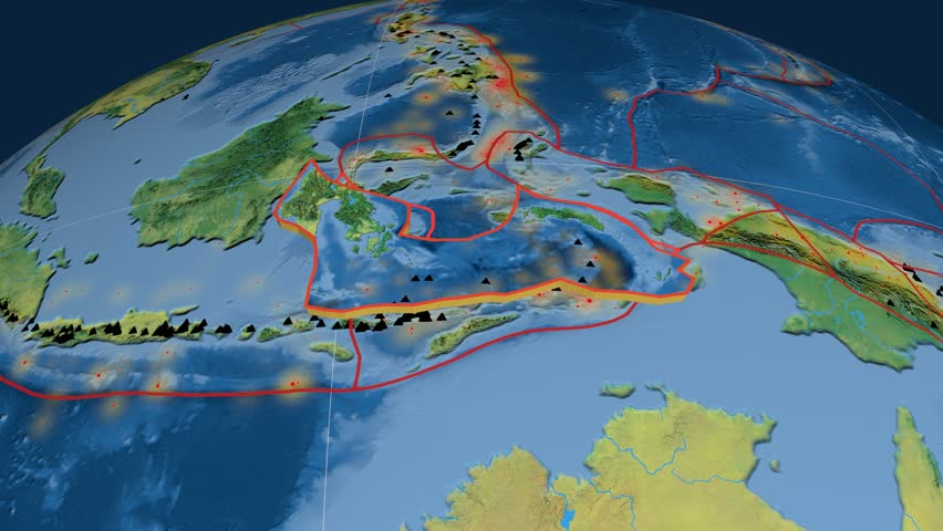 Banda Sea tectonics featured. Topography. Plate extruded and animated against the globe. Tectonic plates borders (newest division), earthquakes by strength & volcanic cones | Shutterstock HD Video #23961226