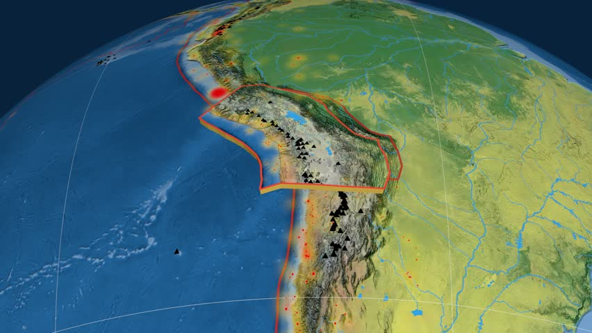 Altiplano tectonics featured. Topography. Plate extruded and animated against the globe. Tectonic plates borders (newest division), earthquakes by strength & volcanic cones   Shutterstock HD Video #23961406