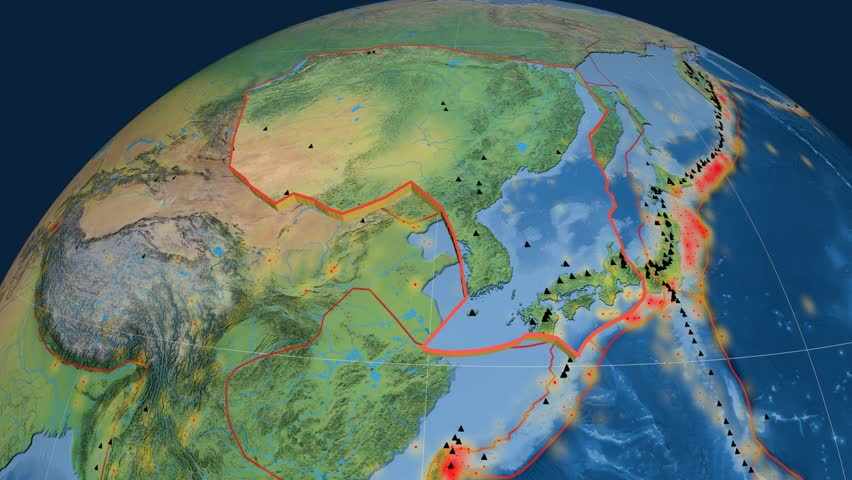Amur tectonics featured. Natural Earth. Plate extruded and animated against the globe. Tectonic plates borders (newest division), earthquakes by strength & volcanic cones | Shutterstock HD Video #23961442