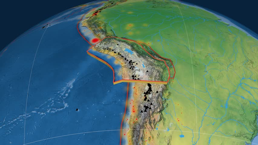 Altiplano tectonics featured. Natural Earth. Plate extruded and animated against the globe. Tectonic plates borders (newest division), earthquakes by strength & volcanic cones | Shutterstock HD Video #23961478