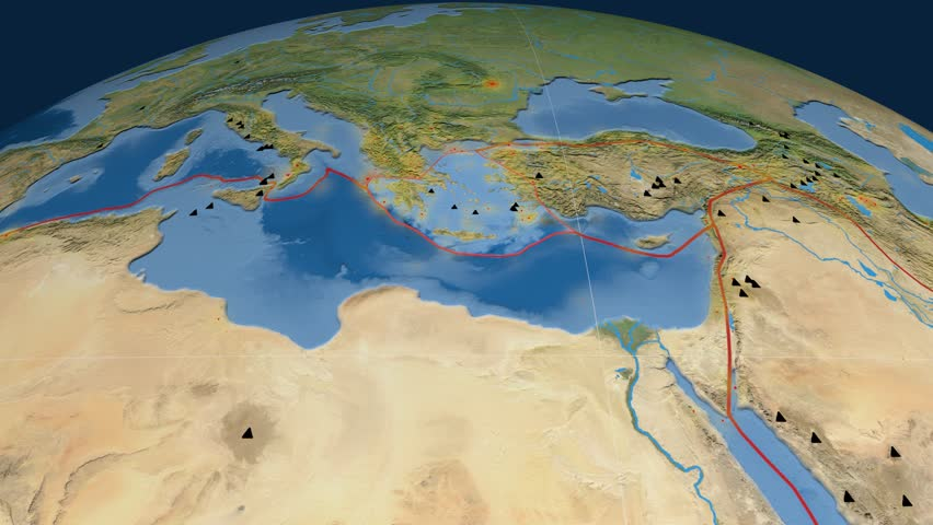 Aegean Sea tectonics featured. Satellite imagery. Plate extruded and animated against the globe. Tectonic plates borders (newest division), earthquakes by strength & volcanic cones | Shutterstock HD Video #23961487
