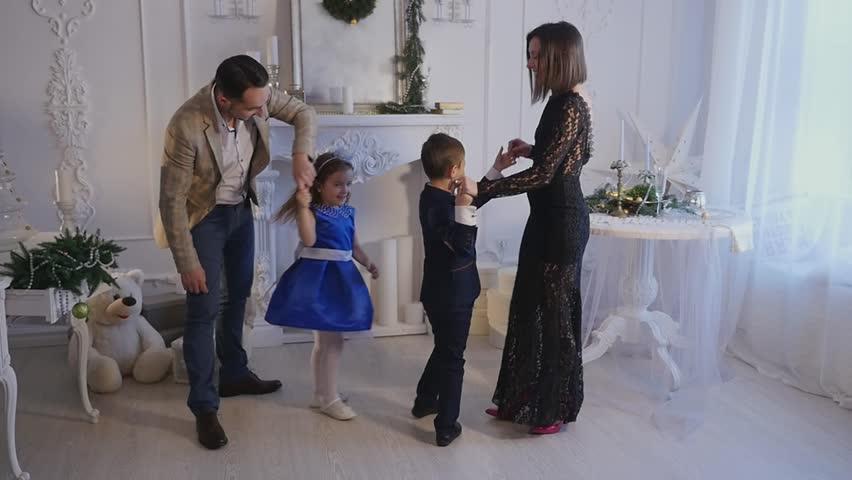 Family new year photo shoot flash light. | Shutterstock HD Video #23991934