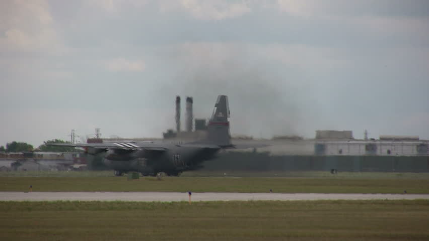 USAF transport plane in reverse movement - HD stock video clip