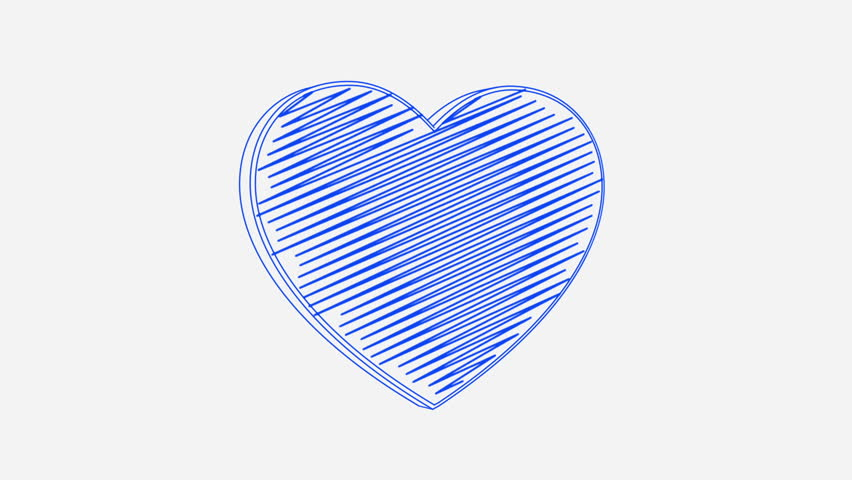 Isolated hand drawn blue heart symbol rotating on the white background. Seamless loop animation.  | Shutterstock HD Video #24019186