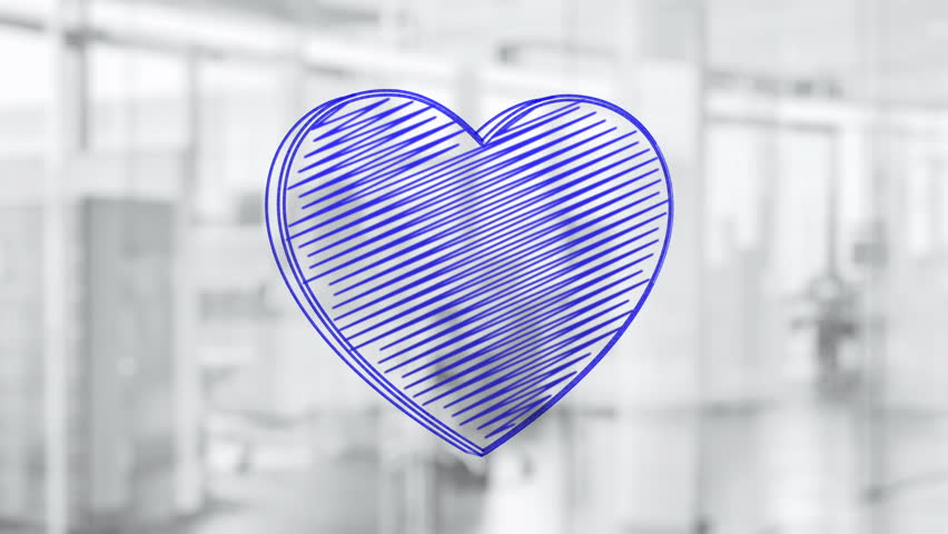 Hand drawn heart symbol rotating on the glass board. Painted by blue marker (Felt Tip Pen). Seamless loop animation.  | Shutterstock HD Video #24019204