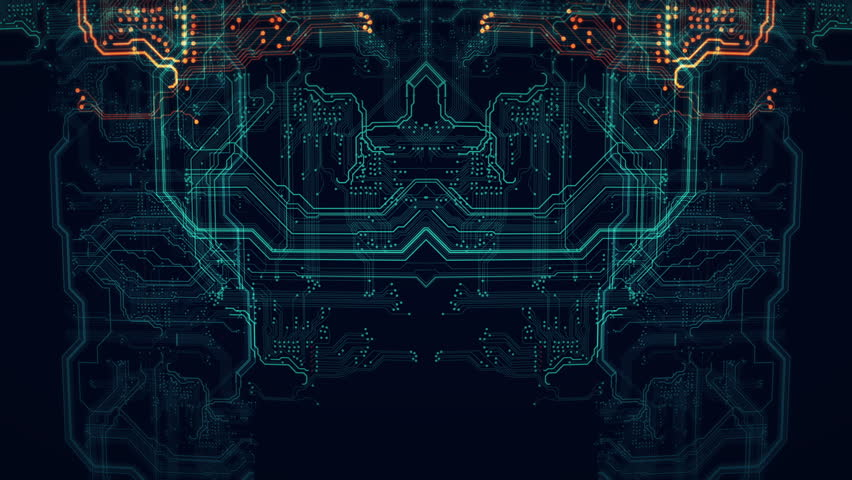 Orange, green technology background circuit board...