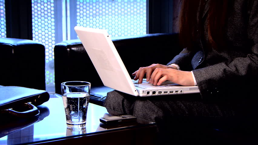 Elegant business woman works from an office at home - HD stock footage clip
