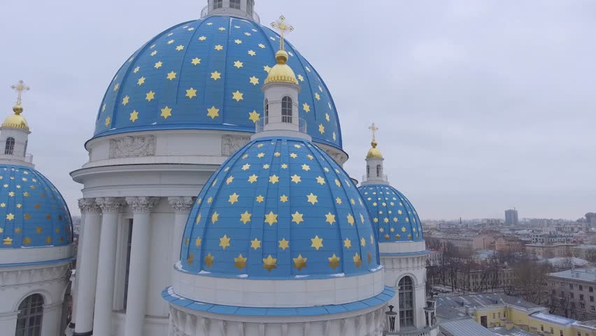 Trinity Cathedral, Saint Petersburg Russia. Beautiful church this blue domes. A memorial column. Winter day, dramatic mood. Unique cinematic 4k drone aerial footage. Slow Drift closeup view. | Shutterstock HD Video #24106864