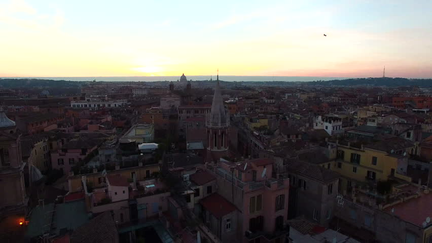 Rome skyline, Italy aerial drone. About art, Margutta, capital, eternal city, ancient Rome, dome, coliseum | Shutterstock HD Video #24107026