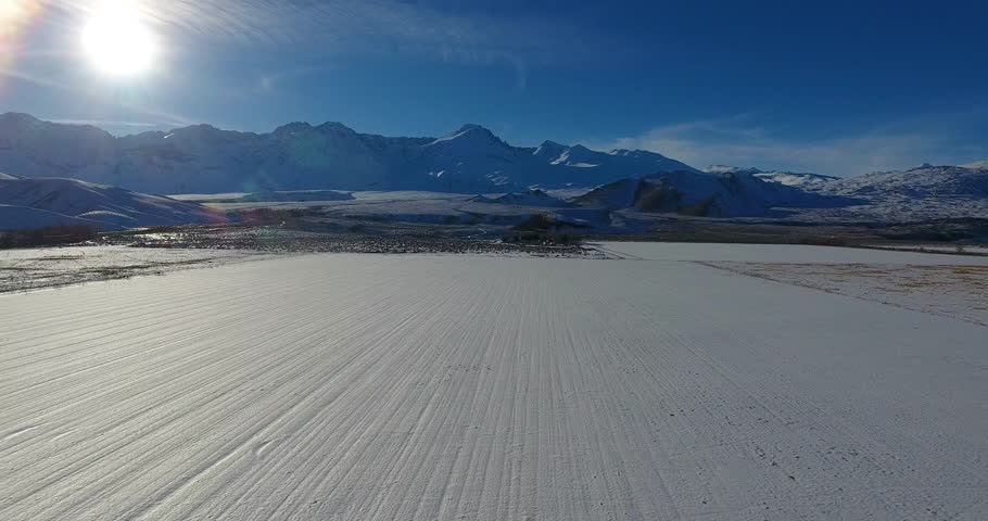Aerial Drone Footage Of Parallel Lines In Snow 4k 24fps | Shutterstock HD Video #24115936