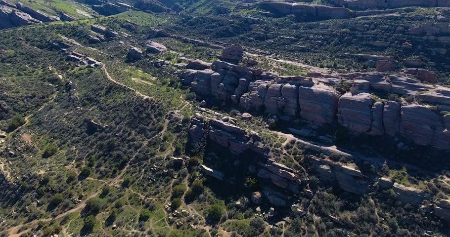 Aerial Drone Flyover of Vasquez Rocks State Park in 4k 24 fps  | Shutterstock HD Video #24116233