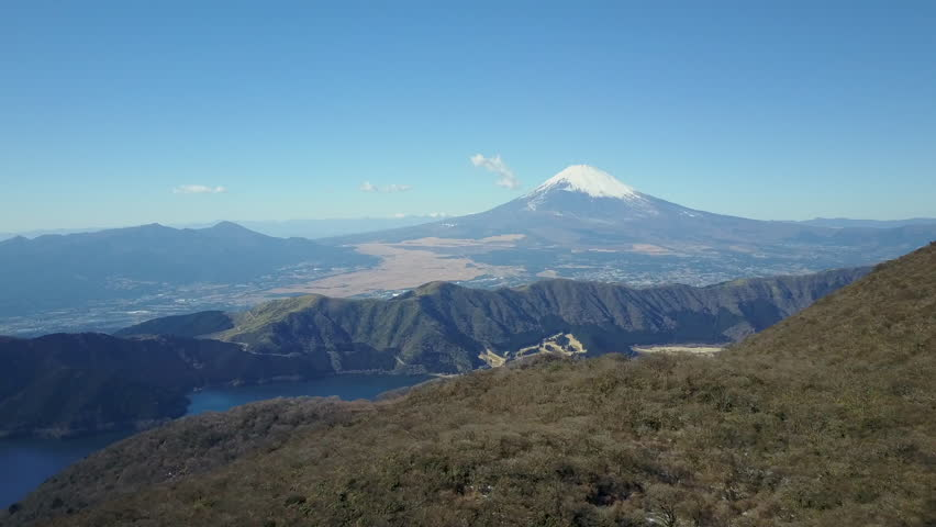 Mt Fuji in Japan is Revealed By a Tilting Camera Which is Travelling Towards the Mountain From a Distance   Shutterstock HD Video #24131074