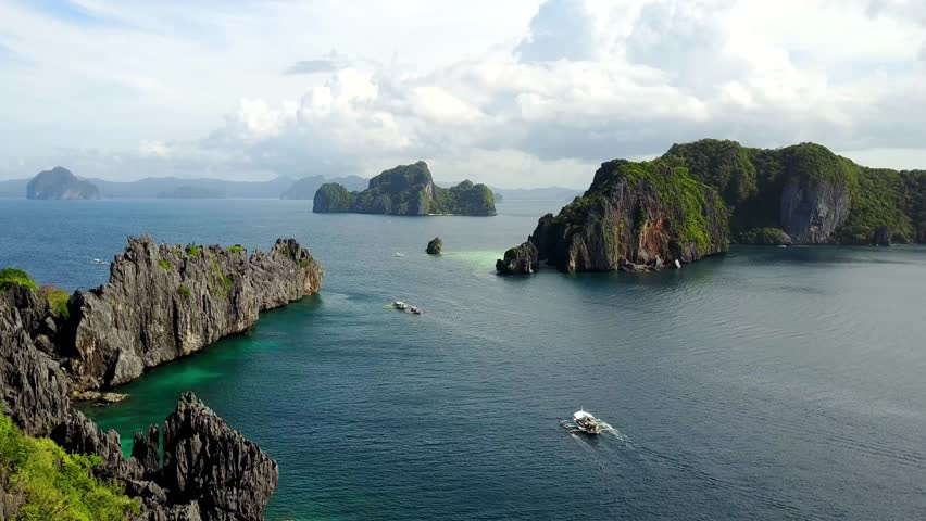 Aerial view from Miniloc Island to Inatula Island, Bacuit Bay, El-Nido. Palawan Island, Philippines