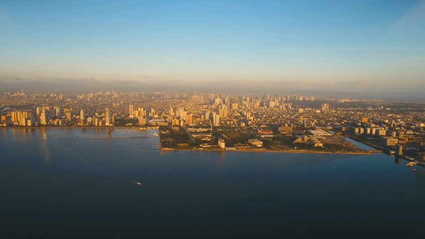 Aerial view skyline of Manila city at sunset.  | Shutterstock HD Video #24157777