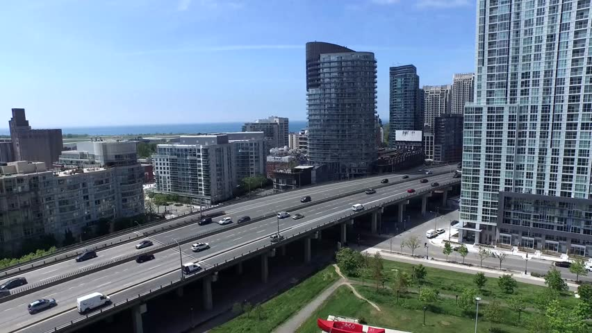 Big highway road in Toronto downtown district and modern architecture, 4k aerial | Shutterstock HD Video #24160864