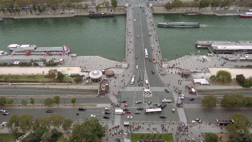 Paris aerial view of Seine river and Jena bridge in Paris, France   Shutterstock HD Video #24182527