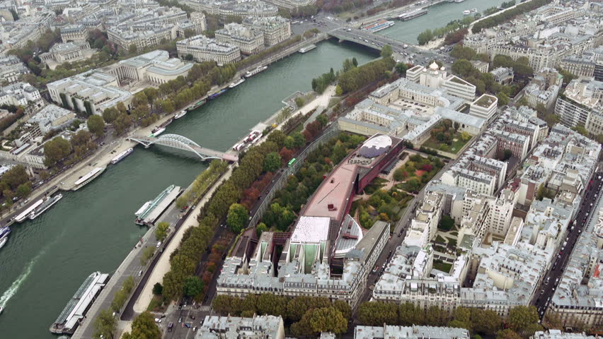 Paris aerial view of Seine river and bridges Alma and Debilly. Tilt shot. Paris, France   Shutterstock HD Video #24182545