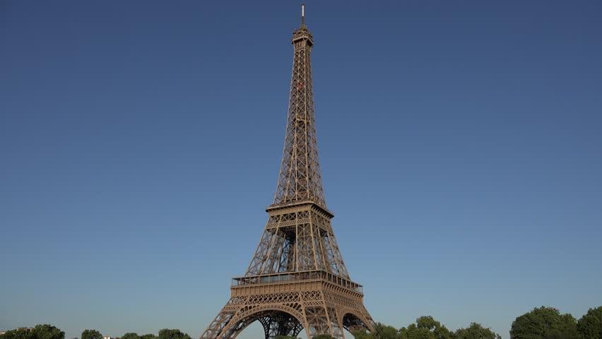 4K Tour Eiffel Paris France European Famous Monument Tower Day View Landmark   Shutterstock HD Video #24186775