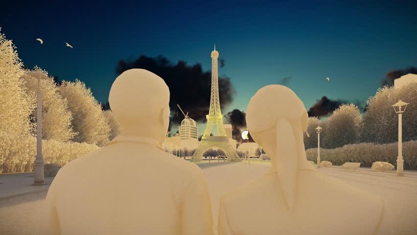 Eiffel Tower in Paris, chalk look, romantic couple   Shutterstock HD Video #24186928