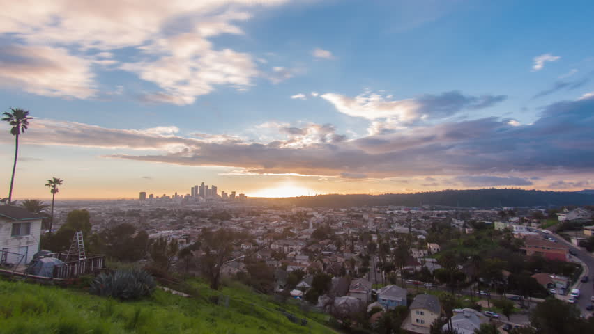 4K timelapse view of the spectacular sunset over Los Angeles skyline. Transition from day to night. | Shutterstock HD Video #24213577
