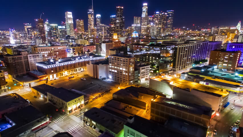 4K Aerolapse ( aerial hyperlapse / timelapse ) of Los Angeles Downtown view at night. | Shutterstock HD Video #24213586