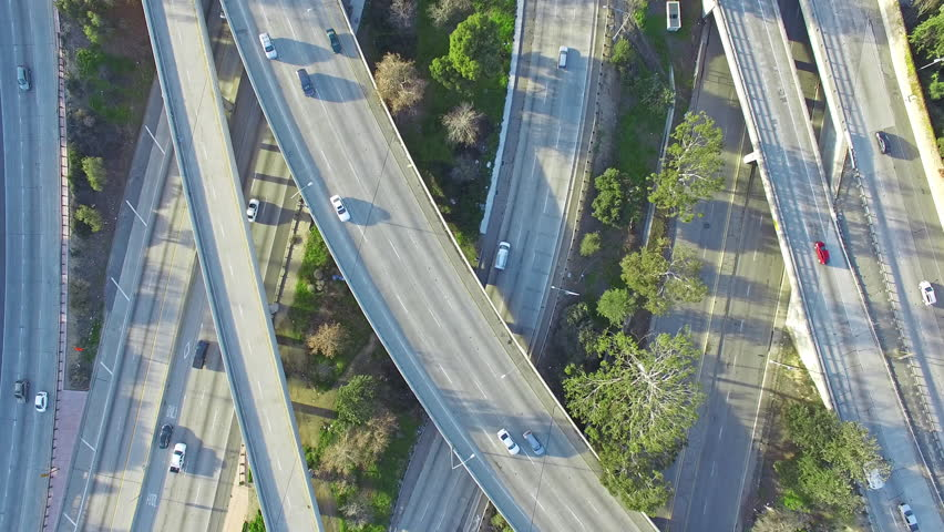 4K Aerial top down view of the traffic on 101, 134 and 170 freeways interchange during a day. Van Nuys, Los Angeles. Camera moving south. | Shutterstock HD Video #24214999