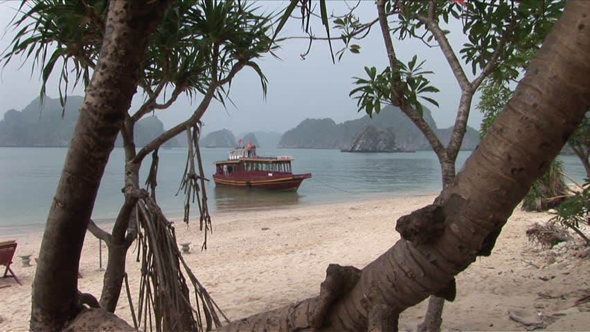 View of a spectacular beach in Ha Long Bay Vietnam