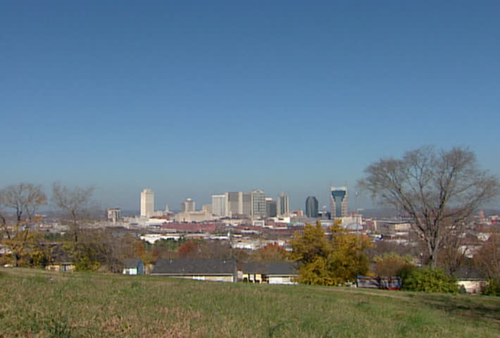 Skyline of Nashville Tennessee in 2002.  - SD stock footage clip