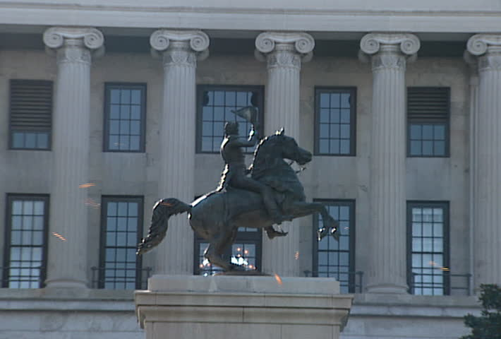 NASHVILLE - Circa 2002: Andrew Jackson Statue on the grounds of the Tennessee State Capitol in 2002 - SD stock video clip