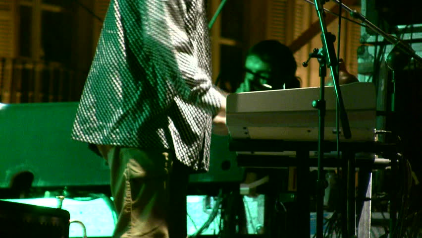 Man playing keyboard in a rock and roll concert - HD stock video clip