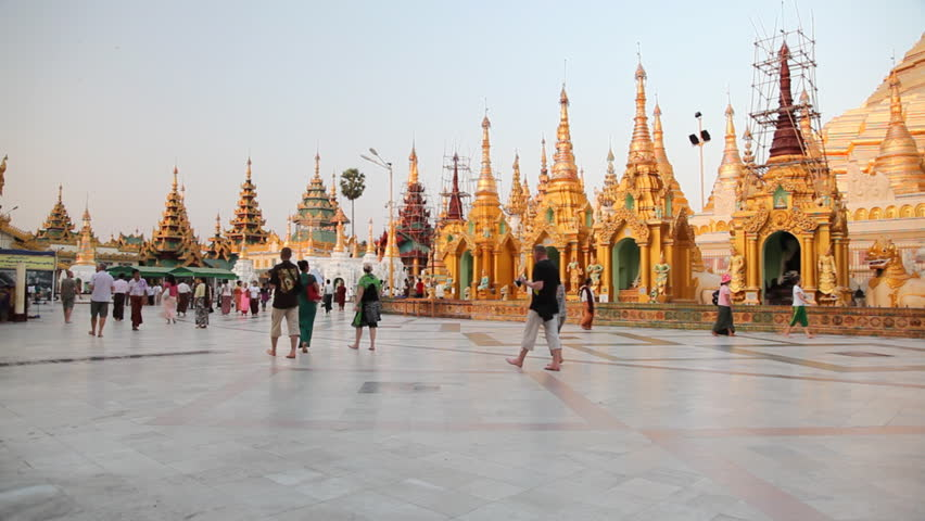 YANGON, MYANMAR- APRIL 15 : Tourists visit the Shwedagon Pagoda in Bagan on April 15, 2012.  Bagan is most popular place for visit in Myanmar