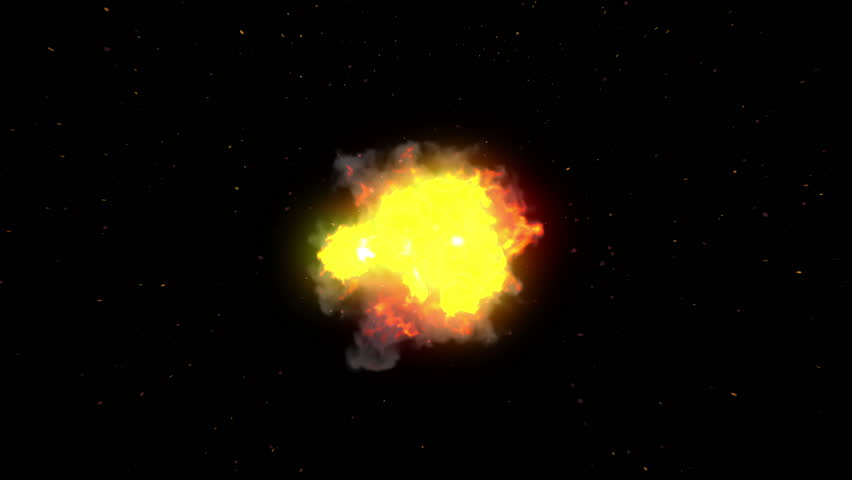 Big explosion with flash and sparks on black. Top view. Alpha mask. HD 1080.