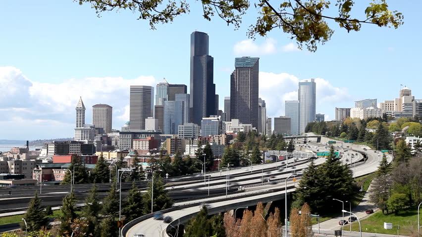 City Of Seattle Highway Traffic Washington State Usa