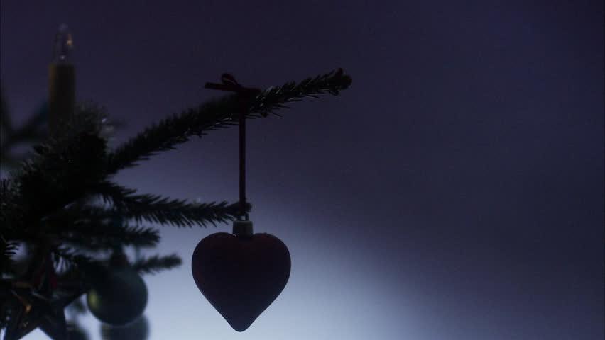 Christmas tree illuminations turned on.