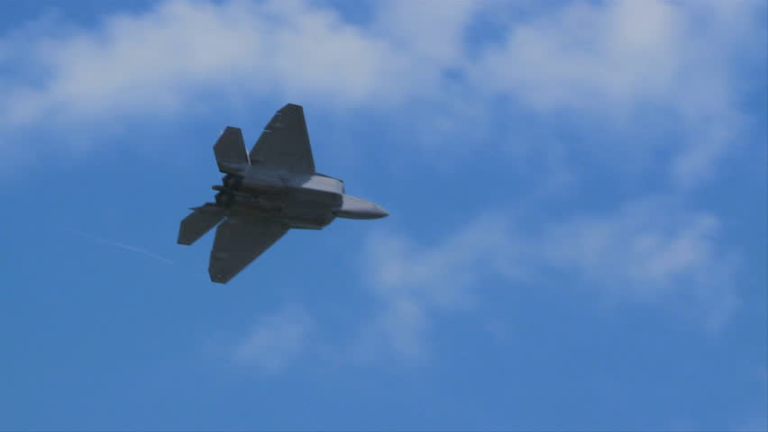 QUONSET, RHODE ISLAND - JUNE 2012: Air force F-22 Raptor rolling at the Rhode Island National Guard Open House and Air Show in June 2012.